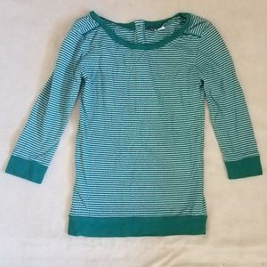 Turquoise Green and White Striped Knit Top Small